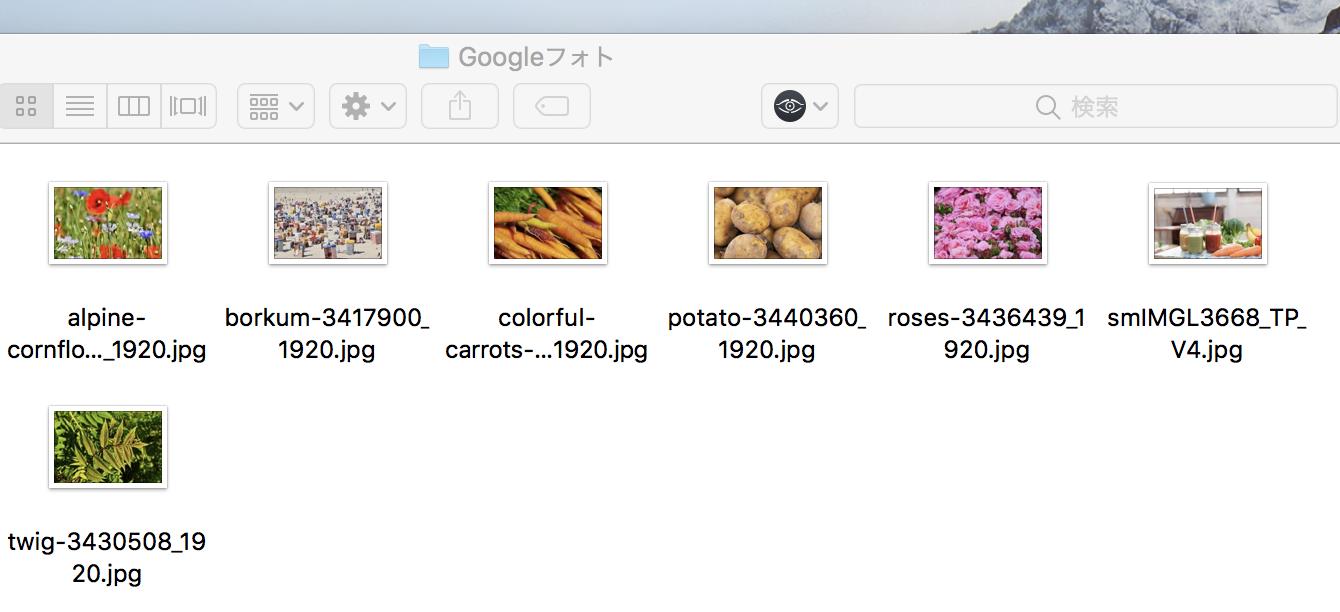 同期用フォルダに指定した「Googleフォト」フォルダ
