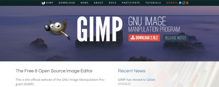 GIMPのダウンロードページ